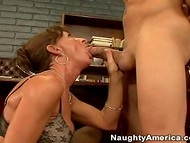 Wise woman in stockings was pleased with her dose of the oral sex action presented by a young guy  4
