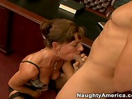 Wise woman in stockings was pleased with her dose of the oral sex action presented by a young guy  7