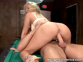Horny blonde MILF has wonderful sex with younger partner on the pool table