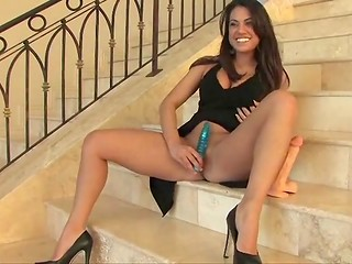 Delicious cutie checks the quality of a new undulated vibrator with her sweet vagina