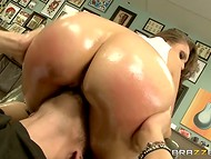 Really horny pornstar Tori Avano visits tattoo salon with dirty ideas and ready for the action asshole