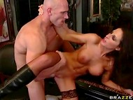 Busty lady in stocking knows how to bring maximum pleasure upon bald dude's head