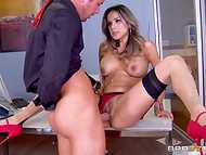 Awesome lady in red lingerie organized a real present for the young fellow by having tense sex action with him