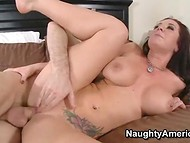 Topheavy MILF got her pussy roughly banged by the brutal lover with large penis