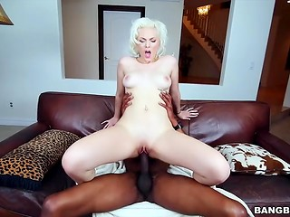 Unique blonde beauty Jenna Ivory is really happy to meet so huge black cock on the camera