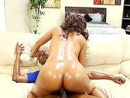 Black-skinned dude oiled up his partner's ass and roughly nailed both of her holes 10