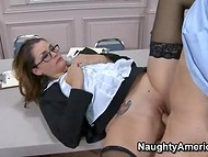 Super hot office lady in sexy glasses takes the initiative and seduces her colleague