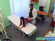 Cunning doctor thoroughly checked exceptional patient's hole with a special lust