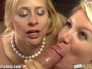 Amateur cock-sucker and seasoned lady present four-eyed man wonderful oral pleasure