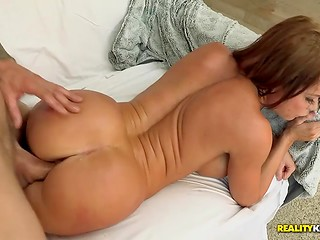 Tanned diva with huge ass brought man to the orgasm point and swallowed his cum