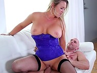 Marvelous pornstar Abbey Brooks pleasing bald dude using her professional mouth