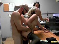 Two playful girlfriends gladly played with the stranger's dick for some money reward  4
