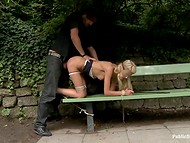 Blindfolded tied blonde is waiting for her lecherous prince in the central park