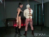 Raven-haired housewife adores to control guy's genitals in the BDSM mode