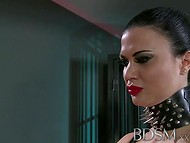 Raven-haired housewife adores to control guy's genitals in the BDSM mode  7