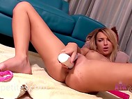 Blonde angel with petite body shapes feeds her starving vagina with a white dildo