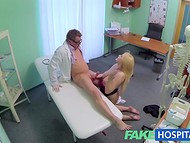 Busty blonde doesn't know that her appointment will end with a flawless fuck