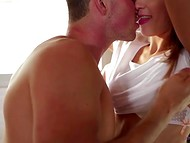 Passionate eating of the banana entailed the awesome sex in the kitchen  4