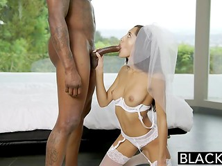 Latina babe in the bride's outfit and black-skinned big-dicked dude is the best sexual tandem