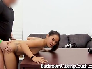 Obedient Latina cutie uses sweat, saliva and sexual techniques to please the producer at the casting
