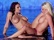 Сексуальные дамочки заманчиво резвятся друг с дружкой, стараясь достигнуть пика наслаждения