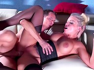 Attracting busty woman skilfully riding a powerful cock with her delicious vagina