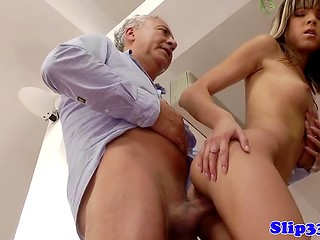 Young pornstar Gina Gerson couldn't pass by the old geezer's experienced cock