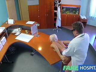 Cunning doctor thoroughly checked the blonde slut's pussy with his sterile instrument
