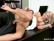 Handsome client quickly banged kind blonde secretary's pussy in the office