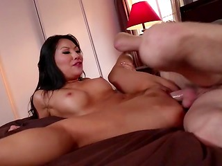 Gorgeous Asian babe Asa Akira meet curly man in the bar and seduces him for a passionate fucking