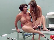 Stunning jilt gets her delicious pusshole penetrated with a huge dildo in the utility room  10