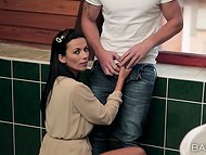 Guy tricked dark-haired miss to present him a blowjob and was caught by another gal 9