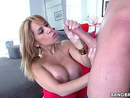 Young stalling caught topheavy MILF masturbating and offered his erected penis as an alternative 5