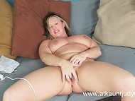 Mature BBW with huge natural tits adroitly plays with the vibrator on the camera   6