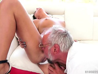 Old rake still got some tricks to satisfy young brunette miss with shaved front hole