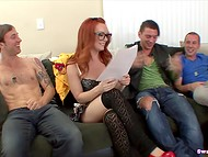 Foxy Dani Jensen with glasses visited her friends to ask some jizz for her ice-cream