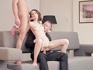 Wicked young imp enjoys having wild sex with two handsome dudes at once