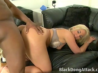 Blonde dame offered black-skinned dude her tight vagina as a honest compensation