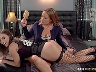 Naughty dollface Lily Love was reeducated by her stepmother and rubber strapon