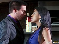 Noble Latina babe paid respect to the man by letting him penetrate her front hole  3