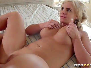 Elegant big-titted lady allured young stallion to fuck her with her available pussy