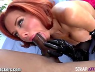 Red-haired MILF Veronica Avluv prepared ripped man's anus for rough penetration with rimming and fisting