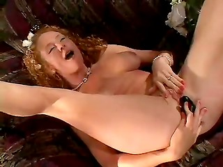 Redhead bride takes cock in mouth, her cave and ass