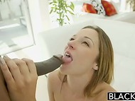 Intriguing video of the interracial love between big black dick owner and cute modest puss 4
