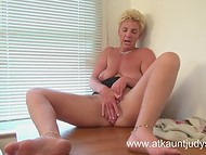 Stuffy cabinet's air made mature matron aroused forcing her to caresses old twat with the pocket vibrator 10