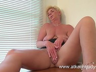 Stuffy cabinet's air made mature matron aroused forcing her to caresses old twat with the pocket vibrator 11