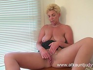 Stuffy cabinet's air made mature matron aroused forcing her to caresses old twat with the pocket vibrator 4