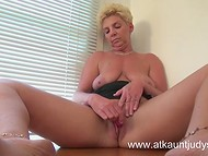 Stuffy cabinet's air made mature matron aroused forcing her to caresses old twat with the pocket vibrator 5