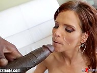 Stunning psychologist Syren Demer uses her tricks to hypnotize Ebony fellow and his gigantic pecker
