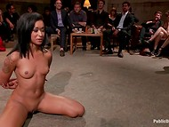 Noble Latina beauty held herself bravely surrounded by the crowd of perverts ready for the sexual disgrace